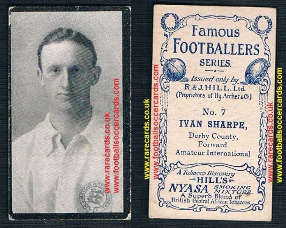 1911 Nyasa Hills 7 Ivan Sharpe Derby County England cigarette card